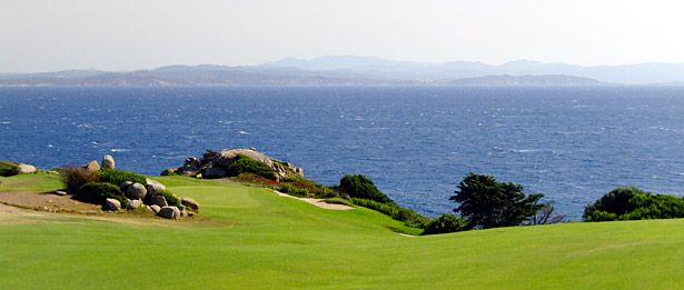 Sperone Golf Club - 11th hole with a Sardinian backdrop